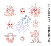 colorful tattoo vector elements....   Shutterstock .eps vector #1155854149