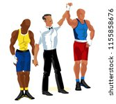 boxing match in ring flat... | Shutterstock .eps vector #1155858676