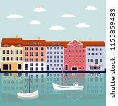 nyhavn copenhagen denmark... | Shutterstock .eps vector #1155859483