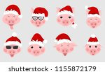 set of christmas pigs with... | Shutterstock .eps vector #1155872179