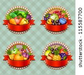 Fruits And Vegetables Labels Set