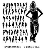 a lot of vector silhouettes of... | Shutterstock .eps vector #115588468
