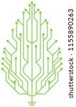 leaf shaped circuit board logo... | Shutterstock .eps vector #1155890263