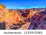 Small photo of Red rock canyon mountain valley top view panorama. Grand Canyon desert in Nevada, USA landscape. Red rock canyon mountains panoramic landscape