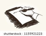 a man holds a pen in his hand...   Shutterstock .eps vector #1155921223