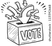 doodle style ballot box vote in ... | Shutterstock .eps vector #115592668