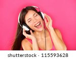 Music. Woman Listening To Musi...