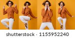 singing girl in fashionable... | Shutterstock . vector #1155952240