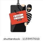 thief hacker in mask stealing... | Shutterstock .eps vector #1155957010