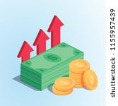 isometric profit money or... | Shutterstock .eps vector #1155957439