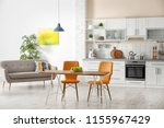 stylish apartment interior with ... | Shutterstock . vector #1155967429