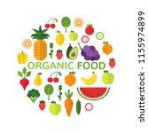 organic food template. healthy... | Shutterstock .eps vector #1155974899