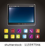 tablet computer with colorful... | Shutterstock .eps vector #115597546