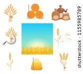 wheat harvesting flat style... | Shutterstock .eps vector #1155985789