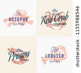 seafood labels set. retro print ... | Shutterstock .eps vector #1155988546