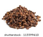 heap of whole cloves on white... | Shutterstock . vector #115599610