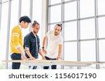 multiethnic group of three men... | Shutterstock . vector #1156017190