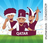 qatar flag. cheer football... | Shutterstock .eps vector #1156020529