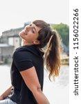 attractive brunette woman... | Shutterstock . vector #1156022266