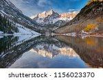 maroon bells and maroon lake... | Shutterstock . vector #1156023370