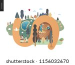 country walk   a girl on a... | Shutterstock .eps vector #1156032670