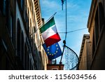 italian flag with eu flag in... | Shutterstock . vector #1156034566