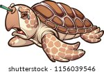 sad sea turtle crying with a... | Shutterstock .eps vector #1156039546