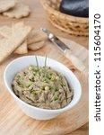 Eggplant dip with herbs - stock photo