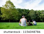 father and daughter and dog... | Shutterstock . vector #1156048786