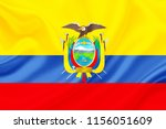 ecuador fabric flag waving 3d... | Shutterstock . vector #1156051609