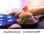 closeup of homemade hamburger... | Shutterstock . vector #1156051699