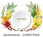 flat lay fresh vegetables on... | Shutterstock .eps vector #1156071016
