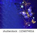 dark  blue velvety background ... | Shutterstock . vector #1156074016