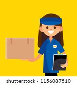 courier holding a box.  vector... | Shutterstock .eps vector #1156087510