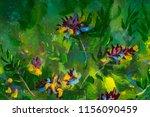 oil painting bush of violet... | Shutterstock . vector #1156090459