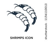 shrimps icon vector isolated on ... | Shutterstock .eps vector #1156110013