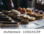 homemade desserts on sale in... | Shutterstock . vector #1156141159