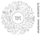 children toys line round frame... | Shutterstock .eps vector #1156145173