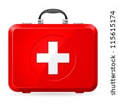 red first aid kit. illustration ... | Shutterstock .eps vector #115615174