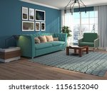 interior of the living room. 3d ... | Shutterstock . vector #1156152040