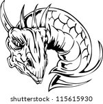 dragon head tattoo. back and... | Shutterstock .eps vector #115615930