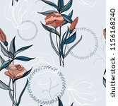 retro wild seamless flower... | Shutterstock .eps vector #1156168240