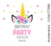 simple unicorn birthday... | Shutterstock .eps vector #1156177000