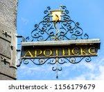 old pharmacy sign in germany in ... | Shutterstock . vector #1156179679
