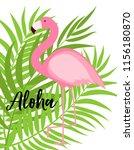 cute pink flamingo summer... | Shutterstock . vector #1156180870
