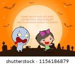 happy halloween poster party... | Shutterstock .eps vector #1156186879