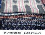 thai silk fabric folded for... | Shutterstock . vector #1156191109