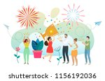 successful woman celebrating... | Shutterstock .eps vector #1156192036