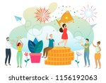 successful woman celebrating... | Shutterstock .eps vector #1156192063