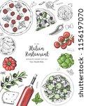 italian cuisine top view frame. ... | Shutterstock .eps vector #1156197070